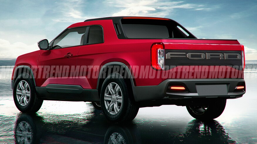 2021 Ford Courier compact pickup truck rendering rear three quarter MT
